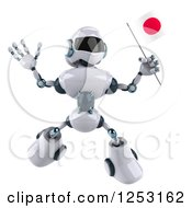 Clipart Of A 3d White And Blue Robot Jumping With A Japanese Flag Royalty Free Illustration