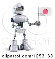 Clipart Of A 3d White And Blue Robot Presenting A Japanese Flag Royalty Free Illustration