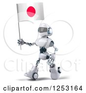 Clipart Of A 3d White And Blue Robot Walking With A Japanese Flag Royalty Free Illustration
