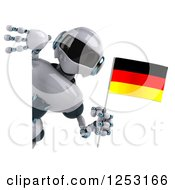 Clipart Of A 3d White And Blue Robot Holding A German Flag Around A Sign Royalty Free Illustration