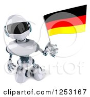 Clipart Of A 3d White And Blue Robot Holding A German Flag Royalty Free Illustration