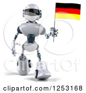 Clipart Of A 3d White And Blue Robot Walking With A German Flag Royalty Free Illustration