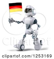 Clipart Of A 3d White And Blue Robot Walking With A German Flag 2 Royalty Free Illustration
