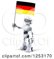 Clipart Of A 3d White And Blue Robot Holding A German Flag 2 Royalty Free Illustration