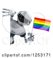 Clipart Of A 3d White And Blue Robot Holding A Rainbow LGBT Flag Around A Sign Royalty Free Illustration