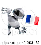 Clipart Of A 3d White And Blue Robot Holding A French Flag Around A Sign Royalty Free Illustration