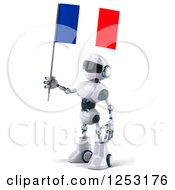 Clipart Of A 3d White And Blue Robot Holding A French Flag 2 Royalty Free Illustration