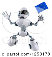 Clipart Of A 3d White And Blue Robot Jumping With A European Flag Royalty Free Illustration