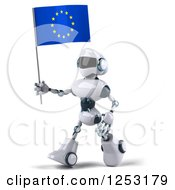 Clipart Of A 3d White And Blue Robot Walking With A European Flag Royalty Free Illustration