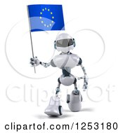 Clipart Of A 3d White And Blue Robot Walking With A European Flag 2 Royalty Free Illustration