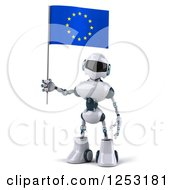 Clipart Of A 3d White And Blue Robot Holding A European Flag Royalty Free Illustration
