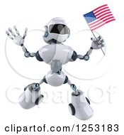 Clipart Of A 3d White And Blue Robot Jumping With An American Flag Royalty Free Illustration