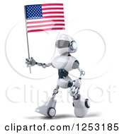 Clipart Of A 3d White And Blue Robot Walking With An American Flag Royalty Free Illustration
