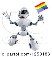 Clipart Of A 3d White And Blue Robot Jumping With A Rainbow LGBT Flag Royalty Free Illustration