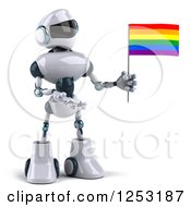 Clipart Of A 3d White And Blue Robot Presenting A Rainbow LGBT Flag Royalty Free Illustration