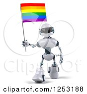 Clipart Of A 3d White And Blue Robot Walking With A Rainbow LGBT Flag Royalty Free Illustration