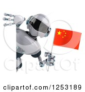 Clipart Of A 3d White And Blue Robot Holding A Chinese Flag Around A Sign Royalty Free Illustration