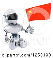 Clipart Of A 3d White And Blue Robot Holding A Chinese Flag 2 Royalty Free Illustration