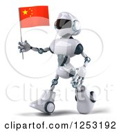 Clipart Of A 3d White And Blue Robot Walking With A Chinese Flag Royalty Free Illustration