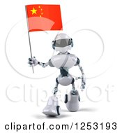 Clipart Of A 3d White And Blue Robot Walking With A Chinese Flag 2 Royalty Free Illustration