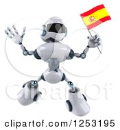 Clipart Of A 3d White And Blue Robot Jumping With A Spanish Flag Royalty Free Illustration