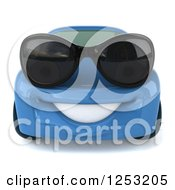 Clipart Of A 3d Blue Compact Car Wearing Sunglasses 2 Royalty Free Illustration