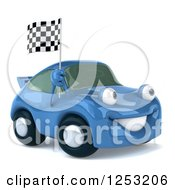 Clipart Of A 3d Blue Porsche With A Racing Flag Royalty Free Illustration by Julos