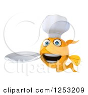 Clipart Of A 3d Chef Goldfish Holding A Plate Royalty Free Illustration