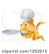 Clipart Of A 3d Chef Goldfish Holding A Plate 2 Royalty Free Illustration