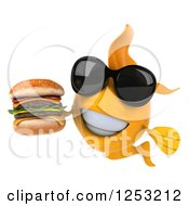 Clipart Of A 3d Goldfish Wearing Sunglasses And Holding A Double Cheeseburger Royalty Free Illustration