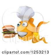 Clipart Of A 3d Chef Goldfish Holding A Double Cheeseburger Royalty Free Illustration