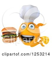 Clipart Of A 3d Chef Goldfish Holding A Double Cheeseburger 2 Royalty Free Illustration