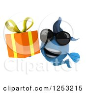 Clipart Of A 3d Blue Fish Wearing Sunglasses And Holding A Gift Royalty Free Illustration