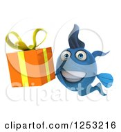 Clipart Of A 3d Blue Fish Holding A Gift Royalty Free Illustration