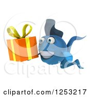 Clipart Of A 3d Blue Fish Holding A Gift 2 Royalty Free Illustration