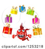 Clipart Of A 3d Red Fish Juggling Gifts Royalty Free Illustration