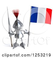 Clipart Of A 3d Medieval Knight Holding A French Flag And Spear Royalty Free Illustration