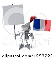 Clipart Of A 3d Medieval Knight Holding A French Flag And Blank Sign Royalty Free Illustration