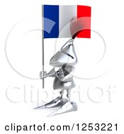 Clipart Of A 3d Medieval Knight Holding A French Flag And Gesturing Stop Royalty Free Illustration