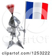 Clipart Of A 3d Medieval Knight Holding A French Flag And Gesturing Stop 2 Royalty Free Illustration