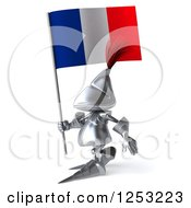 Clipart Of A 3d Medieval Knight Walking With A French Flag Royalty Free Illustration