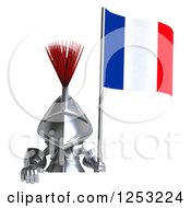 Clipart Of A 3d Medieval Knight Holding A French Flag Over A Sign Royalty Free Illustration