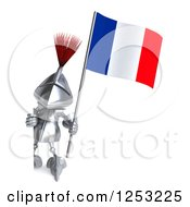 Clipart Of A 3d Medieval Knight Holding A French Flag Around A Sign Royalty Free Illustration