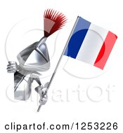 Clipart Of A 3d Medieval Knight Holding A French Flag Around A Sign 2 Royalty Free Illustration