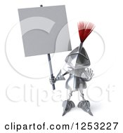 Clipart Of A 3d Medieval Knight Holding A Blank Sign And Gesturing Stop Royalty Free Illustration