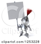 Clipart Of A 3d Medieval Knight Holding A Blank Sign Royalty Free Illustration