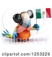 Clipart Of A 3d Macaw Parrot Wearing Sunglasses And Holding A Mexican Flag 2 Royalty Free Illustration