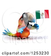 Clipart Of A 3d Macaw Parrot Wearing Sunglasses And Holding A Mexican Flag 3 Royalty Free Illustration