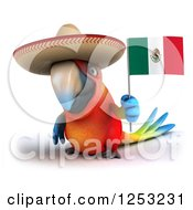Clipart Of A 3d Macaw Parrot Holding A Mexican Flag Royalty Free Illustration