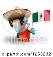 Clipart Of A 3d Macaw Parrot Wearing Sunglasses And Holding A Mexican Flag 4 Royalty Free Illustration